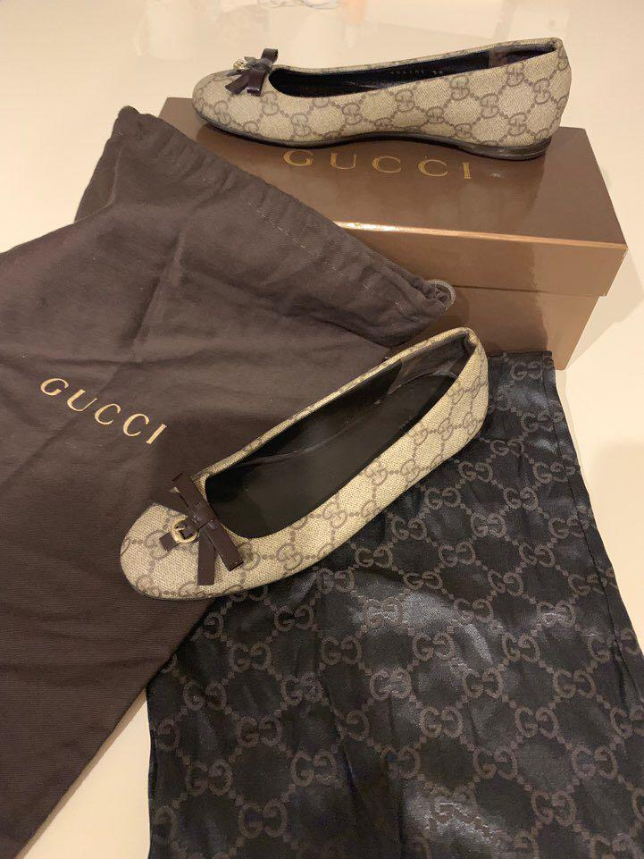 Gucci Guccissima Canvas & Brown Leather Bow Ballet Flats