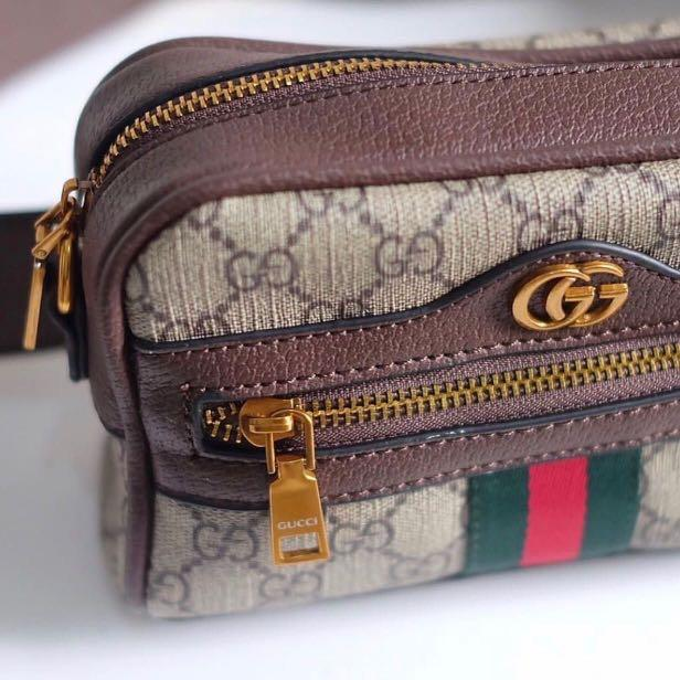 Gucci neutral beige ophidia GG supreme mini belt bag with Chain Strap ori
