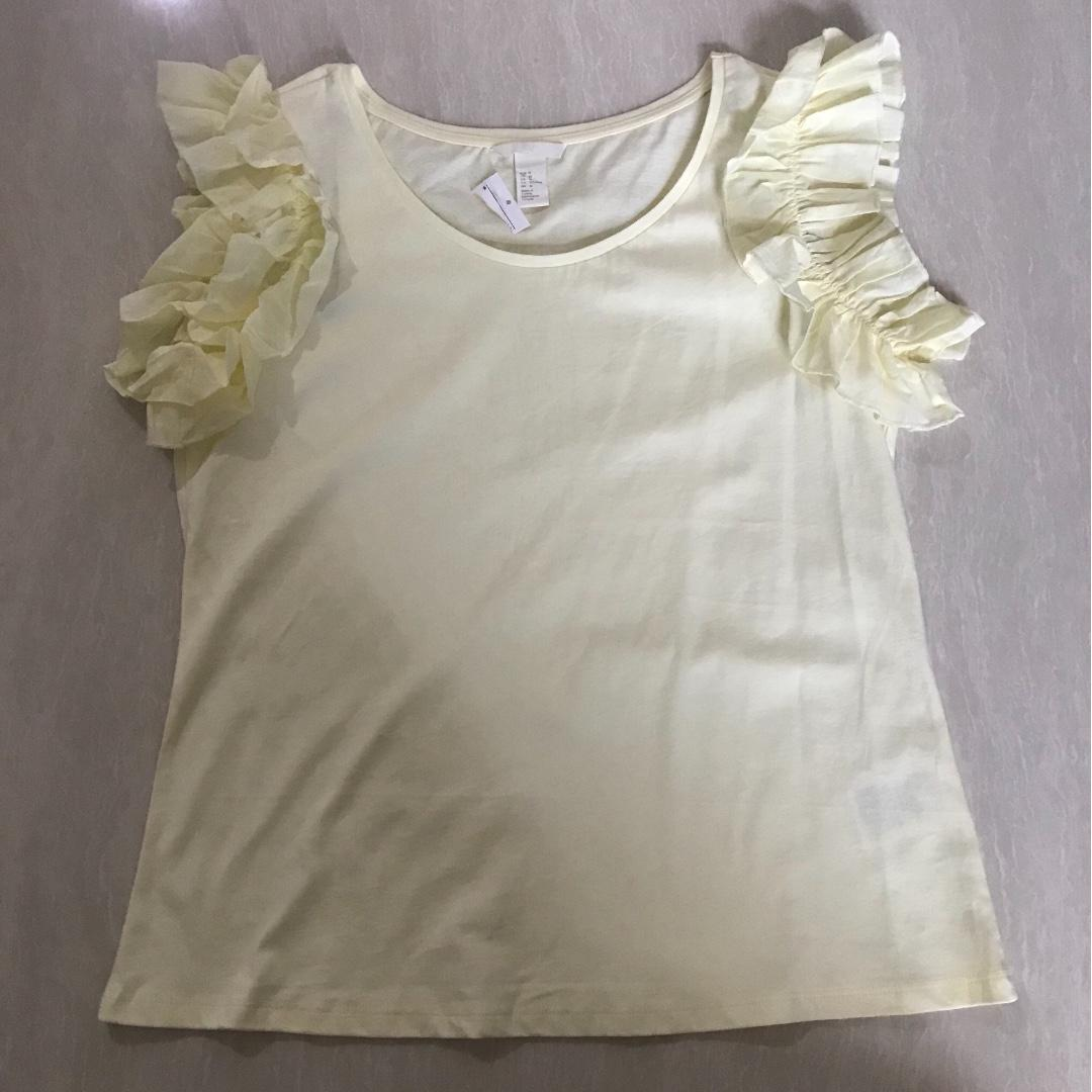H&M Light Yellow Shirt Top with Ruffles Size M - NEW