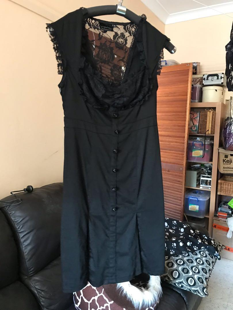 Living dead souls black dress with lace and pleats