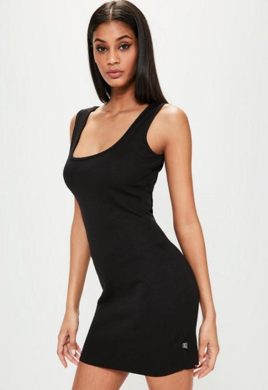 Londunn + Missguided Black Ribbed Square Neck Mini Dress