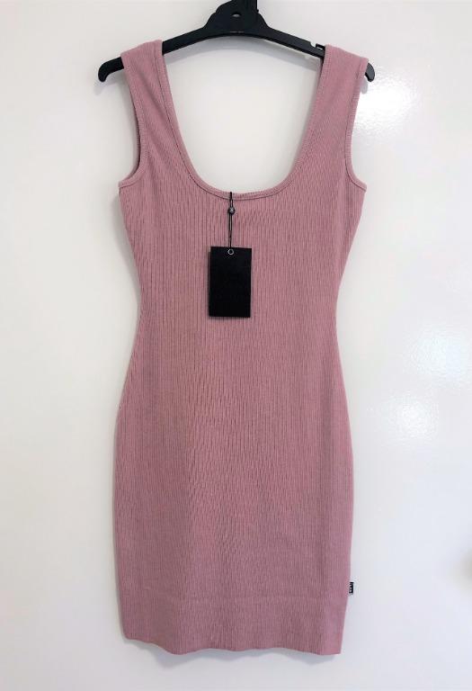 Londunn + Missguided Pink Ribbed Square Neck Mini Dress