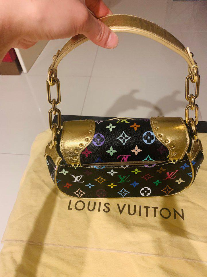 Louis Vuitton Limited Edited Black Multicolore Canvas & Gold Metallic Leather Marilyn Bag
