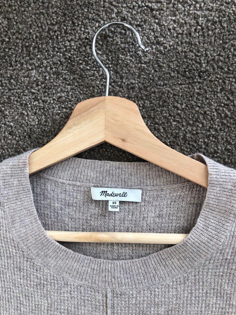 Madewell Beige Crop Length / Sleeve Waffle Knit Jumper