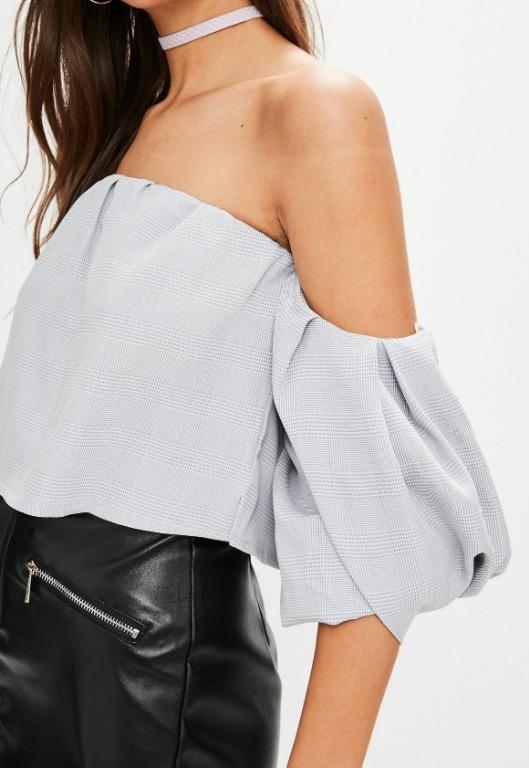 Missguided Petite Grey Bardot Puff Sleeve Crop Top