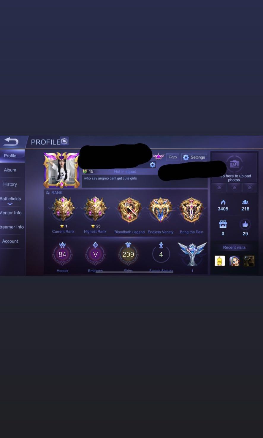 mobile legend account, Toys u0026 Games, Video Gaming, Video