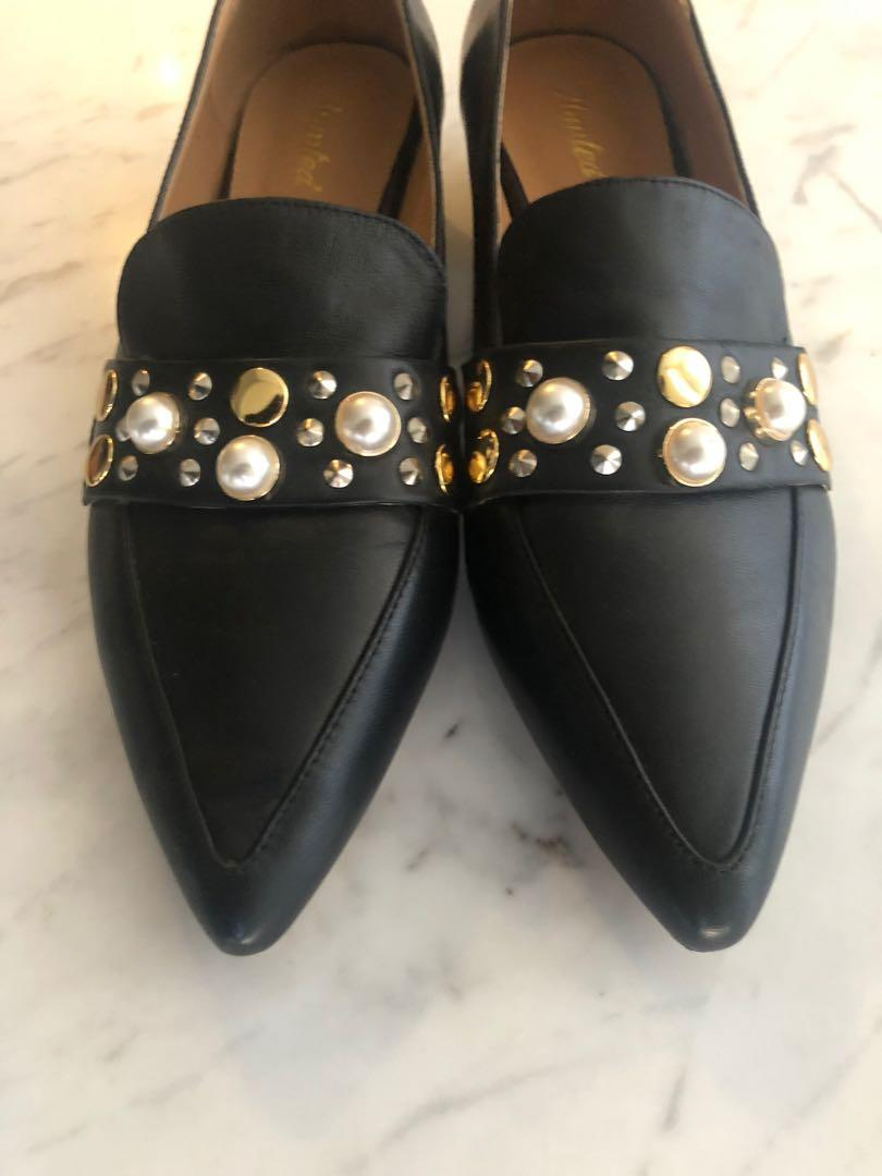 NEW Wanted Black Loafers size 10 with Pearl & Studded Detail