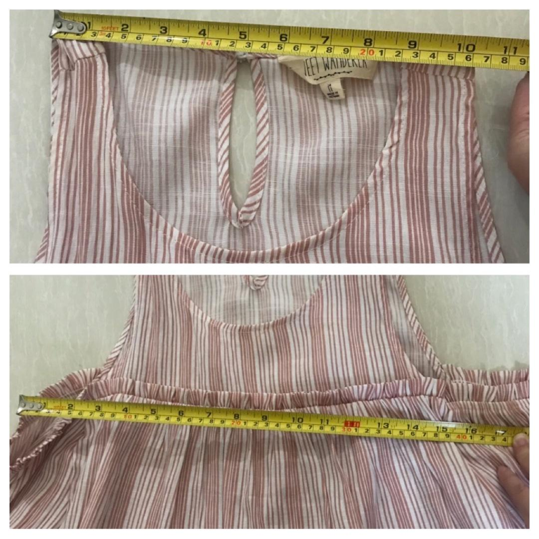 Open Shoulder White with Red Stripes Top Size M - NEW