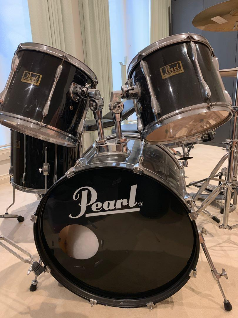 Pearl Export Drum Kit with Cymbals and Double Pedals
