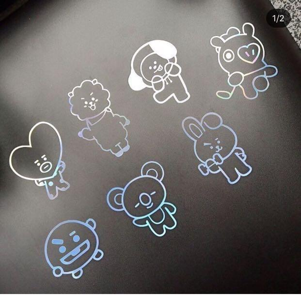 [PREORDER] BT21 LASER STICKERS  FOR phone,Laptop,Army Bomb