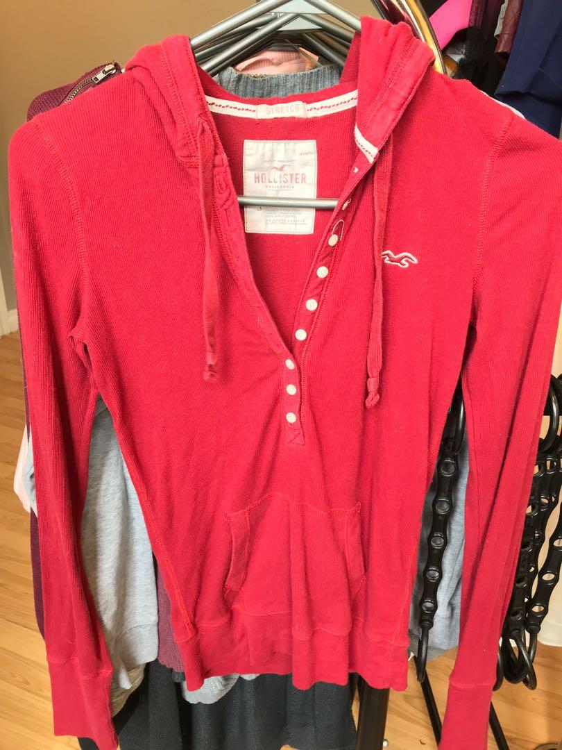 Red Button up Hooded Hollister Fitted Long Sleeve Top