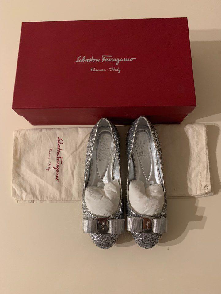 Salvatore Ferragomo Silver Glitter Varina Ballet Flats shoes