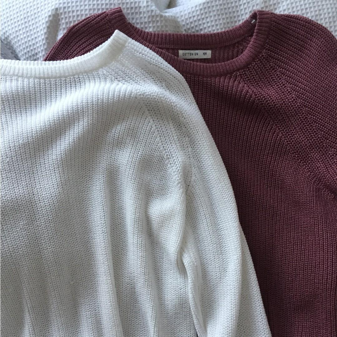Sweater pink/maroon and white