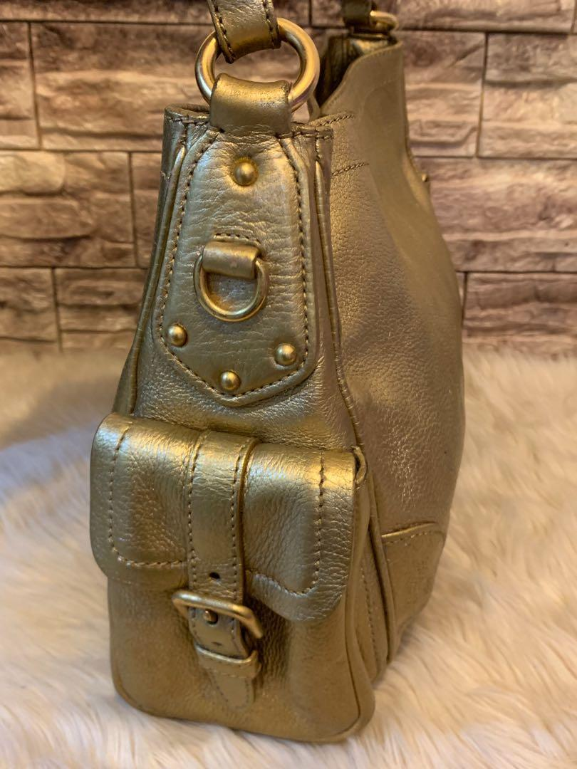 Tas tangan Prada Gold authentic size 32 kondisi 80% bag only with card
