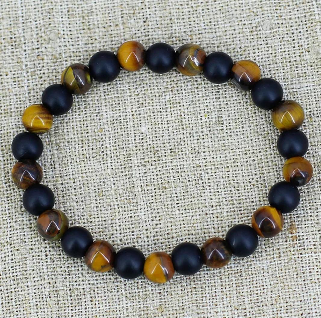 Tiger's eye & matte oynx mala stone beaded bracelet