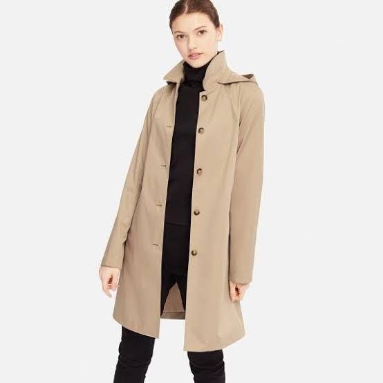 Uniqlo Blocktech Soutien Collar Trench Coat (Rainproof; Detachable Hood)