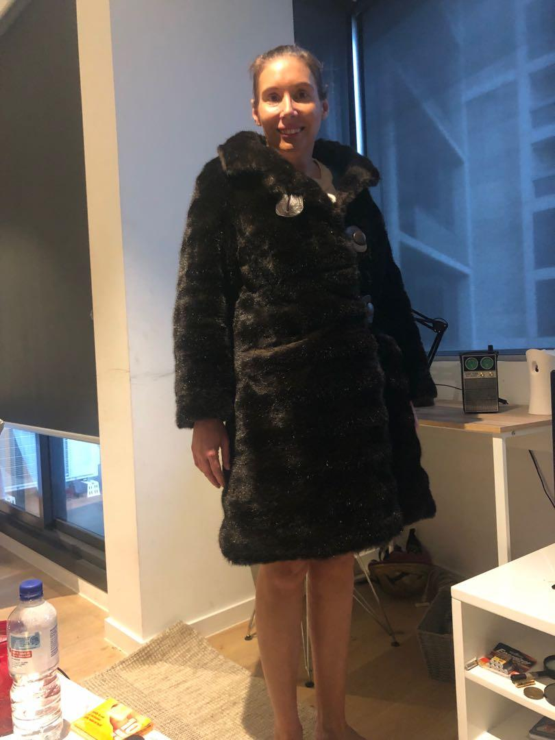 Vintage fur jacket dark brown brought from an exclusive boutique in Paris