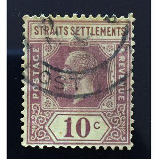 Malaya 1926 Straits Settlements KGV 10c MSCA DieII used ISC#207a Purple on Pale Yellow Q205