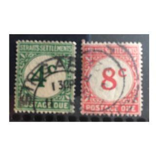 Malaya 1924-26 Straits Settlements Postage Due 4c & 8c Used SG#D3-D4 Q209