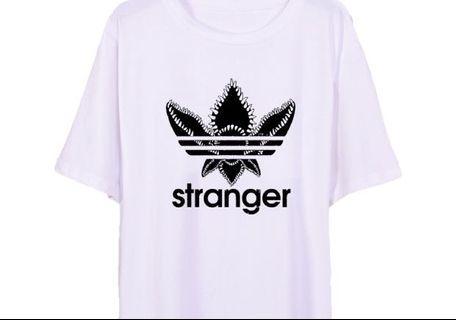 怪奇物語 Stranger things 惡搞 翻玩 TEE T-shirt Addis 白色 XL號 男女生皆可穿