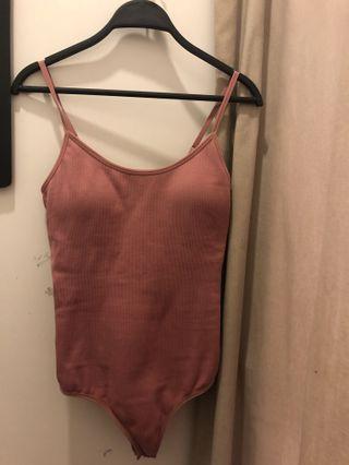 Mauve ribbed padded bodysuit