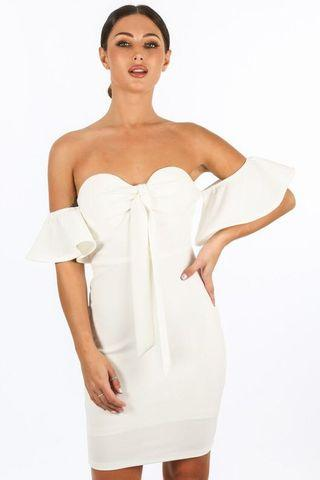 White tie front bow padded bodycon dress