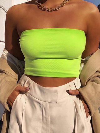 Forever 21 neon green tube top