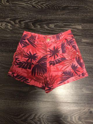 Zara High Waisted Shorts (Red Tropical)