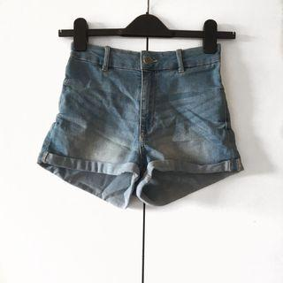 highwaisted blue denim shorts