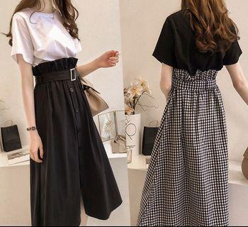 2 pcs set!! Short sleeve shirt+mid waist skirt(Korea style)