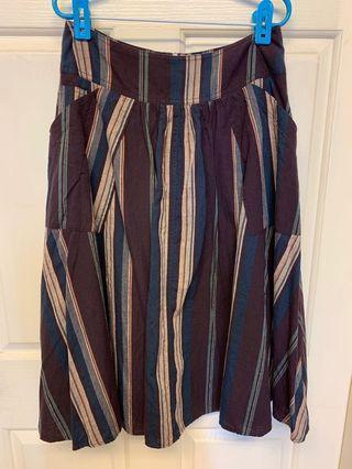 韓國專櫃品牌Donkey長裙深紫藍棕土耳其綠條紋配色原價約1480元購入