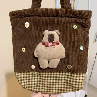 Preloved Brown Bear Canvas Tote bag / tas serut wanita anak