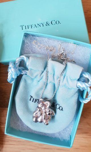 TIFFANY&CO.純銀可愛禮物小熊項鍊
