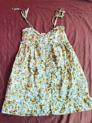 日本品牌 Liz Lisa 碎花綁帶洋裝 無袖洋裝 無袖上衣