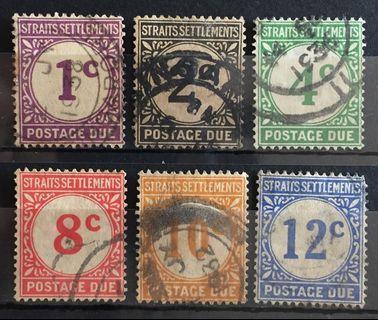 Malaya 1924-26 Straits Settlements Postage Due 6V complete set Used SG#D1-D6 M1669F