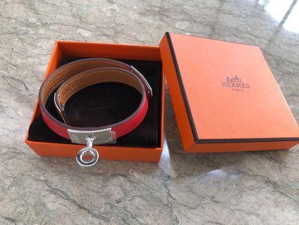 Authentic Hermes Bracelet Kelly Double Tour - Rouge Tomate