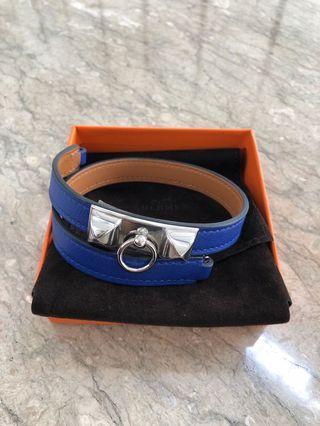 Hermes Bracelet Rivale Double Tour - Bleu Electrique