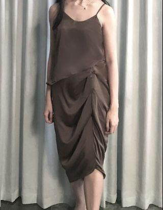 Midi Pleat Dress Serut Pesta Green Army Hijau