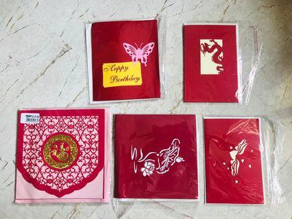 🚚 Greeting Birthday Pop Up Card China Tradition Red Dragon Butterfly Fortune Blessing