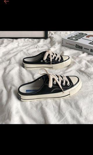 韓版帆布鞋/懶人鞋 半拖鞋式 男帆布鞋44號