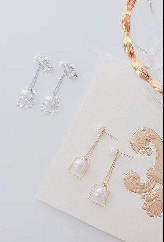 氣質珍珠螺旋耳夾