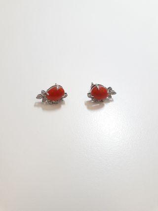 紅珊瑚 耳環 耳墜