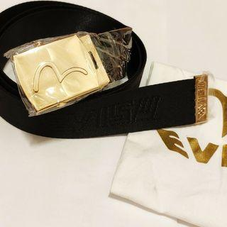Japan EVISU Black Nylon Gold Logo belt overprint