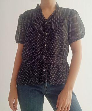 Thrift Polkadot Sheer Top