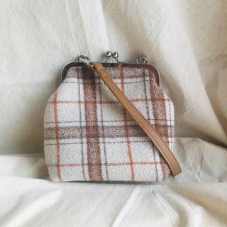 White Brown Plaid Purse