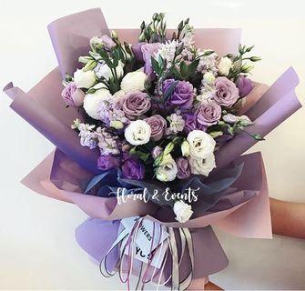 Romantic Purple Theme Floral Bouquet
