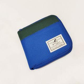 Agnes B Agnés b sports b electric blue/ green canvas bifold zip wallet with coin pocket purse
