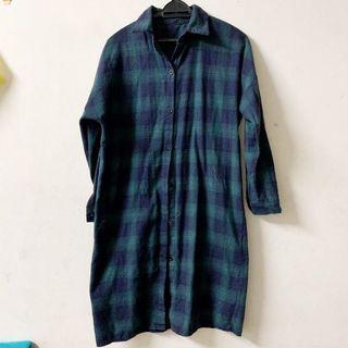 Plaid long blouse
