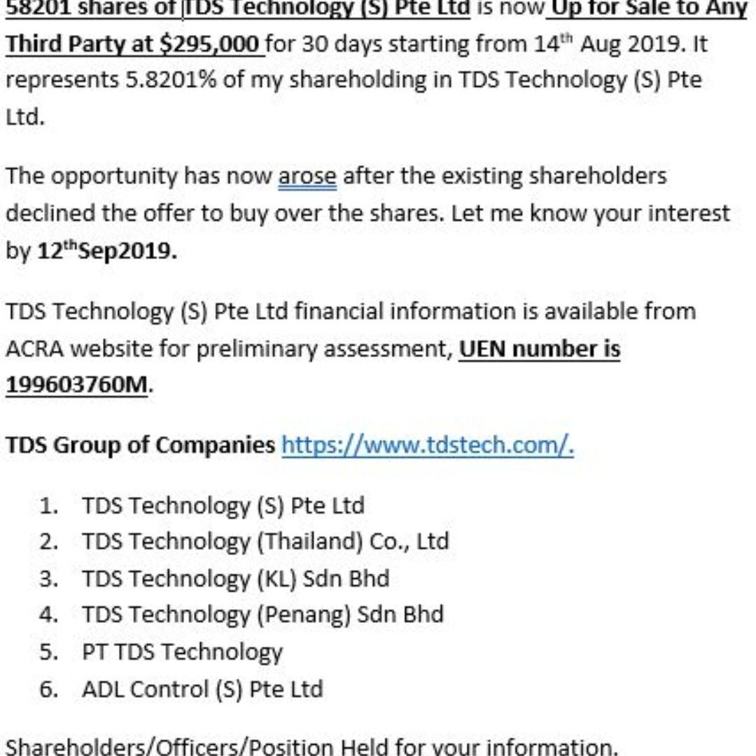 58201 shares of  TDS Technology (S) Pte Ltd