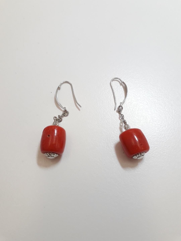 紅珊瑚 耳墜